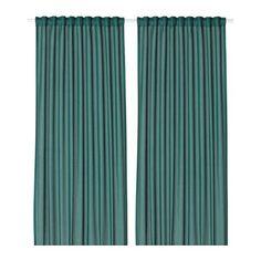 VIVAN Rideaux, 1 paire, vert bleu vert bleu 145x300 cm