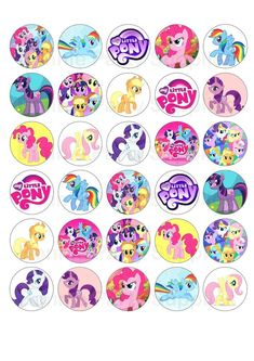 30 Cupcake Toppers Printed on High Quality Edible Rice Wafer Paper. Ideal for celebrations, parties or just great fun entertaining the kids. The circles are clearly outlined to make cutting them easier, use sharp dry scissors. Festa Do My Little Pony, My Little Pony Cupcakes, My Little Pony Birthday Party, My Little Pony Printable, My Little Pony Stickers, Cute Stickers, Invitaciones My Little Pony, Anniversaire My Little Pony, Rainbow Dash Party