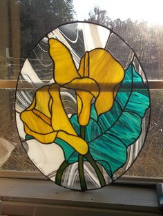 """16""""x20"""" oval, yellow calla lillies made and auctioned at Fair on the Square for my Komen 3-Day fund"""