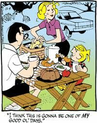 Dennis the Menace on a picnic