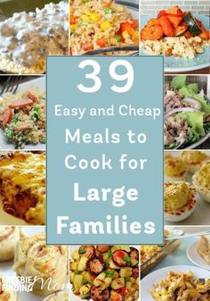 Have a big family but a small budget? No problem! Here are 39 easy and cheap meals to cook for large families that are sure to inspire you. You'll find delicious slow cooker recipes, casserole recipes, pasta recipes, and more! Family Meals On a Budget Large Family Meals, Easy Family Dinners, Healthy Family Meals, Big Family, Easy Dinners, Family Budget, Cheap Dinners, Cheap Meals To Cook, No Cook Meals