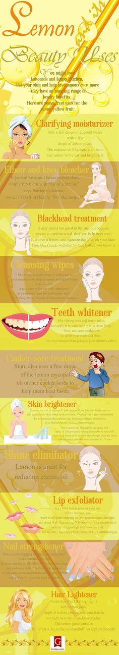 This infographic explains 14 ways you can use lemons for health and beauty purposes...
