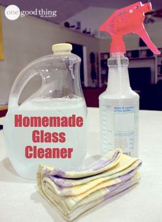 This glass cleaner works so well! The rubbing alcohol makes it dry fast, leaving no streaks behind :-)