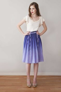 Knee length Skirt 'Lily short skirt  in Lilac' by Archella on Etsy, $90.00