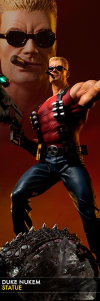 Duke Nukem Statue - Duke Nukem Forever  $299.99    Sideshow Collectibles is proud to introduce the Duke Nukem Statue, presenting the brash self-proclaimed hero in all his unapologetic glory. At 16-inches tall, Duke strides over the carcass of a slaughtered Alien, armed with his signature gold pistol and high tech shrink-ray gun.