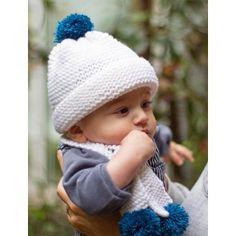Kit tricot by WoolKiss : Petit patapon : bonnet + écharpe 100% laine mérinos. Kit tricot débutant.