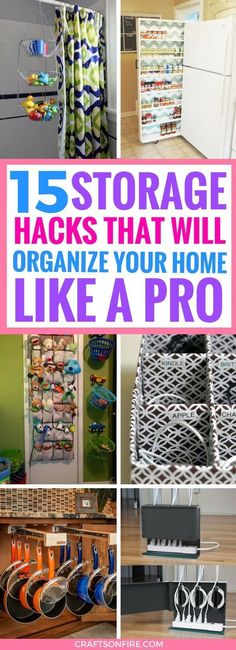 These Storage Organization Ideas are the BEST. Seriously incredible ways that will help you sort and arrange all the stuff in your home. I can't believe I didn't think of these before. Definitely saving for later. #organization #storage #storagesolutions #homeorganization