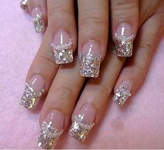 French nail art looks very cut with white or black dress. French acrylic nails…