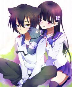 Sankarea: (left to right) Chihiro, Babu (the cat), and Rea Manga Anime, Anime Art, Zero No Tsukaima, Zombie Girl, Kaichou Wa Maid Sama, Anime Animals, Cute Anime Couples, Manga Games, I Love Anime