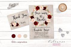 146abd85d653 Burgundy Bridal Shower Invitation Marsala Here Comes the Bride Shower  Invite Floral Spring Digital Bohemian Autumn Shower Invite - BS018