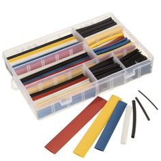 360pcs Mixed Color Polyolefin 2:1 Halogen-free Heat Shrink Tubing Sleeving With Box. Description :  360Pcs Mixed Color Polyolefin 2:1 Halogen-Free Heat Shrink Tubing Sleeving with Box     Features :  This product has a 2:1 shrink ratio and is both UL & CSA certified for up to 600V @125 Degree Centigrade. Product is also RoHS Compliant. The Compact translucent storage box with molded catch to prevent spillage as well as compartments labeled with size makes this a handy item for the…