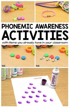 Teach Your Child To Read Tips - Build phonemic awareness with these blending and segmenting activities!Perfect for teaching phonemic awareness in kindergarten and grade. - TEACH YOUR CHILD TO READ and Enable Your Child to Become a Fast and Fluent Reader! Phonemic Awareness Kindergarten, Phonological Awareness Activities, Kindergarten Literacy, Early Literacy, Preschool Learning, Learning Activities, Learning Time, Educational Activities, Teaching Phonics
