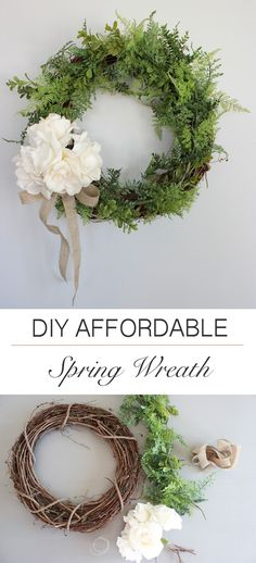 DIY Affordable Spring Wreath // Make this easy and inexpensive wreath for your home decor. Wreaths are a fantastic way to keep your home decor up to date with the seasons. #InexpensiveHomeDécor,