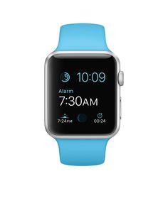 Apple Watch Sport – Caixa de 42 mm prateada de alumínio com pulseira desportiva azul