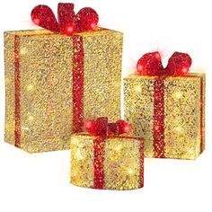 gemmy gift boxes set of 3 tallest box is 1 6998 christmas yardchristmas - Lowes Outside Christmas Decorations