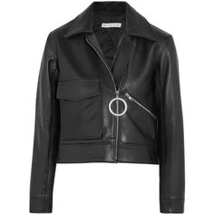 Rejina Pyo Sara cropped leather biker jacket ($420) ❤ liked on Polyvore featuring outerwear, jackets, rejina pyo, black, leather, oversized jacket, cropped leather jacket, oversized leather jacket, long leather jacket and long jacket