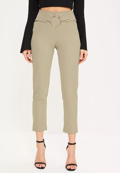 Every girl needs their go-to cigarette trousers - consider these an essential! In a khaki hue, ring detailing on the waist and a cigarette style, we just can't say no!