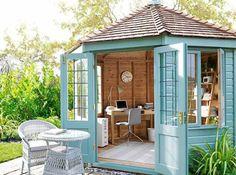 50 Popular DIY Backyard Studio Shed Remodel Design & Decor Ideas - Page 11 of 56 Shed Office, Backyard Office, Outdoor Office, Backyard Studio, Backyard Projects, Rustic Office, Backyard Sheds, Backyard Designs, Garden Studio