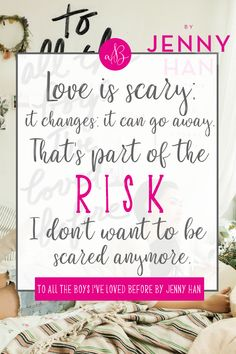 Book quote from the adorable Lara Jean in Jenny Han's beloved novel To All the Boys I've Loved Before! Love Is Scary, Crazy Love, Famous Book Quotes, Movie Quotes, Jenny Han Books, My Life Next Door, Lara Jean, Movie Lines, Ya Books