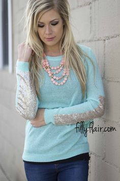 Love & Sunshine Sweater in Mint - Lightweight and sparkle for spring from fillyflair.com!