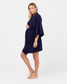 The Felicity Robe is crafted from the best quality organic bamboo for ultimate layering comfort. Specially designed to allow extra room for your beautiful bump, this is also an ideal addition to your hospital bag. A perfect baby shower gift, the gentle drape and soft silhouette sleeves will make any mother-to-be feel absolutely wonderful every time she wears it.  Organic bamboo Minimalist sleepwear design with removable waist tie Midi cut with mid-length sleeves Thermoregulating sleepwear Maternity Pajamas, Extra Rooms, Pyjamas, Baby Shower Gifts, How To Make, How To Wear, Cold Shoulder Dress, Hospital Bag, Mid Length
