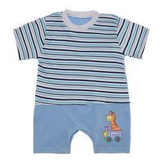 Macacão de bebê curto listrado lapuko, tecido suedine 100% algodão macio e confortável com lindo aplique de girafinha, ideal para os dias quentes da estação.