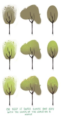 dommifox: A couple people asked me how I vary my leaves and trees and honestly, it's super easy! I've never made a tutorial/guide before so I kept this mega simple but I hope someone out there might find it useful at least! Also, anyone can download the brushes I use for all my art on my tumblr page (: I only use around 5 so go nuts hah