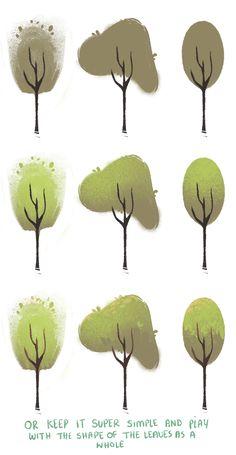 Inspiratie voor de stijl van de bomen, simpel maar het werkt wel, zonder te veel aandacht af te leiden van de rest van de scène. Autonoom/sociaal.