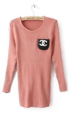 Pink Long Sleeve Double C Pocket Embellished Sweater