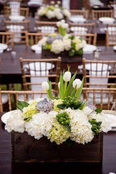 rustic white tulip wedding centerpiece / http://www.himisspuff.com/white-tulip-wedding-ideas-for-spring-weddings/7/