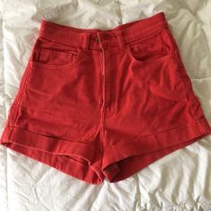 AA Stretch Bull Denim High-Waist Cuff Short Balloon Red. Worn many times but, they've been cared for well. American Apparel Shorts Jean Shorts