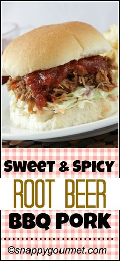 Sweet & Spicy Root Beer BBQ Pork Recipe, an easy slow cooker pork recipe with an easy homemade BBQ sauce that makes great BBQ sandwiches and freezes well! Slow Cooker Pork Bbq, Crock Pot Slow Cooker, Bbq Pork, Slow Cooker Recipes, Crockpot Recipes, Pork Recipes, Real Food Recipes, Cooking Recipes, Healthy Recipes