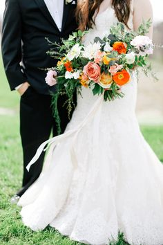 cheerful orange bouquet with poppies | Feather & Twine