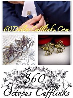 WHAT? ~ Handcrafted Luxury Octopus Cufflinks Set That Are Available In 2 Finishes: Either Platinum Or 24K Gold.  WHERE? ~ BUY NOW At Www.60DollarCufflinks.Com  Made In The USA  WHEN? ~ Wear These Whenever You're Ready To Show Off Your James Bond 007 Persona And Catch Some Octopussy Tonigh...