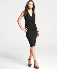 4a455290d73  88 Ann Taylor Black Soft Jersey Crossover Blouson Vneck Dress Fashion  Drug
