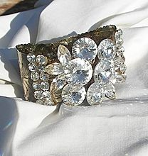 New Year Sale! Many items sale priced with 20 to 60% off Now shipping Global express flat rate to limited country's Sensational large Rivoli Rhinestone Clamper Bracelet Wow factor Circa 60's
