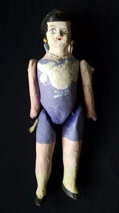 VTG Mexican Papier Paper Mache Doll Folk Art Martha Cartonería Lupita Purple
