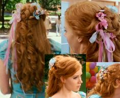Disney Cosplay Now I have to search for the flowers and the ribbons! The FUN part! Enchanted Movie, Giselle Enchanted, Disney Enchanted, Disney Hairstyles, Cute Hairstyles, Wedding Hairstyles, Natural Hairstyles, Robes Country, Disney Cosplay