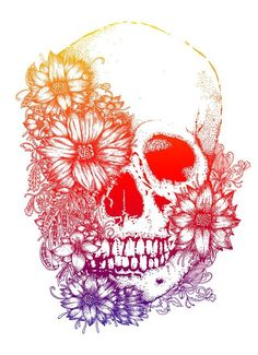 Rainbow Flowers Skull Tattoo Design #skull_tattoo_color