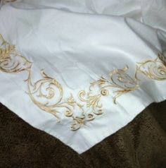 sferra golden scrolled embroidered standard sham 406 thread count new sferra