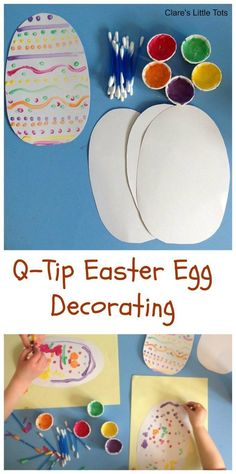 Q-tip easter egg decorating - an easy DIY craft for Easter celebrations #Eater #crafts #DIY