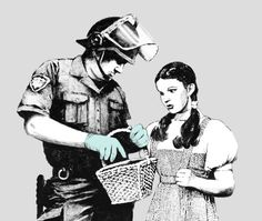 Dorothy experiencing culture shock towards the future. *Basket of goodies checked before being allowed back on set*    -Banksy-