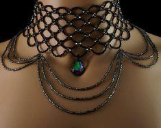 Items similar to Silver freshwater pearl + silver Swarovski crystal draping fringe choker. Swarovski pearl choker on Etsy Blue Choker, Silver Choker, Beaded Choker, Pearl Choker, Beaded Jewelry Patterns, Turquoise Pendant, Gothic Jewelry, Czech Glass Beads, Black Diamond