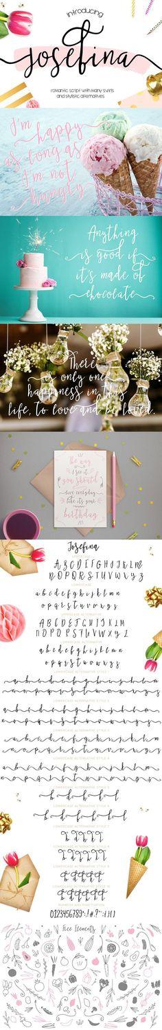 Josefina • Bonus Elements •. Script Fonts