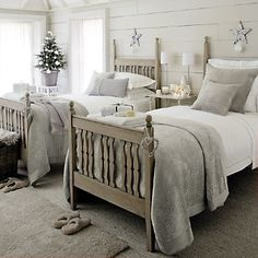 cosy twin bedroom from The White Company Home Bedroom, Bedroom Decor, Christmas Bedroom, Winter Bedroom, Christmas Stars, Childrens Room Decor, The White Company, Guest Bedrooms, Twin Bedroom Ideas