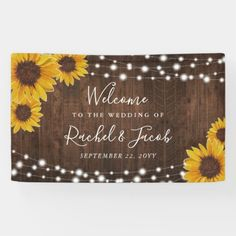 Rustic Sunflowers String Lights Wedding Banner