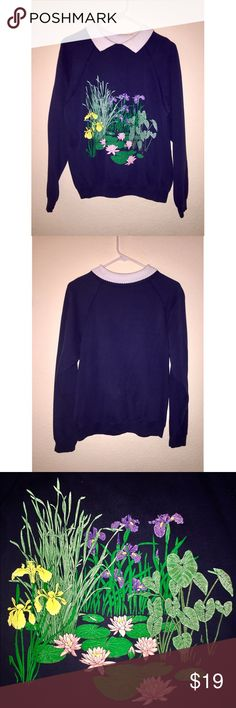 Vintage Sweater Adorable and unique vintage floral navy sweater with a white Peter Pan collar. This is labeled a size large but fits a size small best. It is in good vintage condition. The color is faded because it's vintage! It still looks great with Oxford shoes or booties for the fall and winter! Tagged as Brandy Melville for visibility! Brandy Melville Sweaters