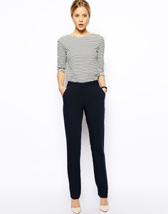 ASOS Straight Trousers With Jet Pocket