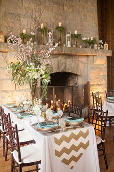 gold and aqua reception, photo by Artistrie Co http://ruffledblog.com/watch-tower-lodge-wedding #weddingideas #weddingreception #chevron