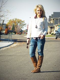 blue jeans, flannel shirt, sweater and brown boots go together perfectly!